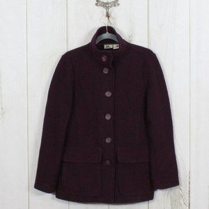 LL BEAN 100% Wool Button Down Coat Jacket Size S